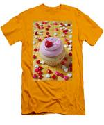 Pink Cupcake With Candy Hearts Men's T-Shirt (Athletic Fit)
