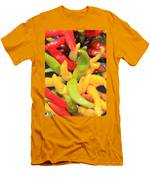 Colorful Chili Peppers  Men's T-Shirt (Athletic Fit)