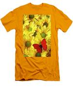 Red Butterfly On Yellow Mums Men's T-Shirt (Athletic Fit)