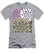 White Violet Green Peony Flowers Men's T-Shirt (Athletic Fit)