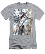 Cardinals In Mossy Tree Men's T-Shirt (Athletic Fit)