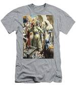 Christ Removing The Money Lenders From The Temple Men's T-Shirt (Athletic Fit)