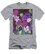 Flowers With Basket Weave Men's T-Shirt (Athletic Fit)