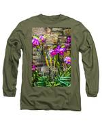 Purple Orchids With Cultured Stone Background Long Sleeve T-Shirt by Alex Grichenko