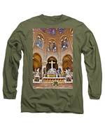 High Alter Notre Dame Cathedral Paris France Long Sleeve T-Shirt by Kim Bemis