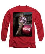 Classic Coca-cola Cowboy Long Sleeve T-Shirt by James Sage