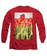 Red Tulip Field In Portrait Format. Long Sleeve T-Shirt by Anjo Ten Kate
