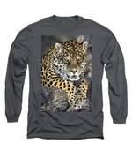 Jaguar Portrait Wildlife Rescue Long Sleeve T-Shirt by Dave Welling