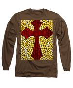 Mosaic Red Cross Long Sleeve T-Shirt by Cynthia Amaral
