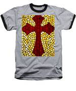 Mosaic Red Cross Baseball T-Shirt by Cynthia Amaral