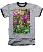Purple Orchids With Cultured Stone Background Baseball T-Shirt by Alex Grichenko