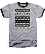 Fair Isle Black And White Baseball T-Shirt