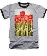 Red Tulip Field In Portrait Format. Baseball T-Shirt by Anjo Ten Kate
