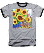 Sunflowers Galore Baseball T-Shirt by Val Stokes