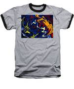 Warped Wet Paint Abstract In Comic Book Colors Baseball T-Shirt by Shelli Fitzpatrick