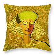 189 Metallic Woman Golden Pearls Throw Pillow