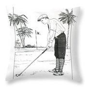 1920's Vintage Golfer Throw Pillow