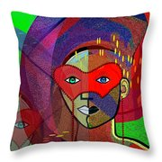 394 - Challenging Woman With Mask Throw Pillow