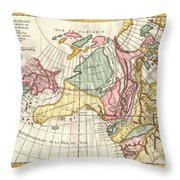 A Truly Fascinating 1772 Map Of The Northwestern Parts Of North America By Robert De Vaugondy And T Throw Pillow
