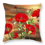 Abstract Poppies Painting On Wood Throw Pillow