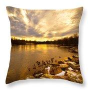 Androscoggin River Between Lewiston And Auburn Throw Pillow