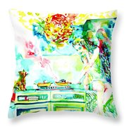 Angel Ghost Girl Cooking Again In Her Passed Life's Kitchen With Her Friend Cat Throw Pillow