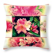 Azaleas 1950's Style Throw Pillow