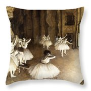 Ballet Rehearsal On Stage Throw Pillow