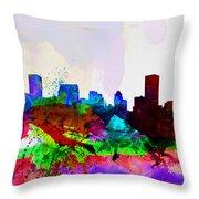 Baltimore Watercolor Skyline Throw Pillow