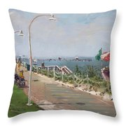 Beach Border Walk In Norfolk Va Throw Pillow