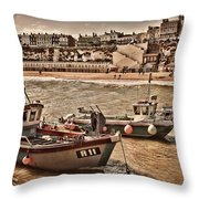 Boats At Broadstairs Throw Pillow