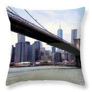 Nyc Skyline-brooklyn Bridge Throw Pillow
