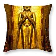 Buddha Inside Ananda Temple - Bagan - Myanmar Throw Pillow