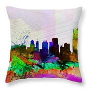 Buffalo Watercolor Skyline Throw Pillow