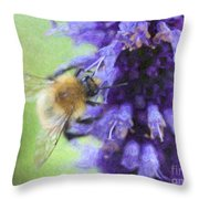Bumblebee On Buddleja Throw Pillow