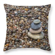 Cairn On Wet Pebbles Throw Pillow