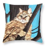 Cat On A Tree Throw Pillow