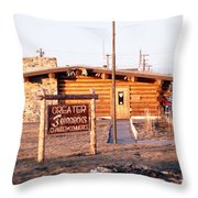 Chamber Of Commerce Log Cabin Fairbanks Alaska 1969 Throw Pillow