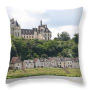 Chateau De Chaumont Stands Above The River Loire Throw Pillow