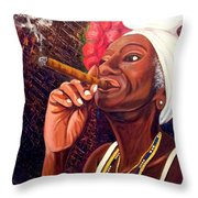 Cigar Lady Throw Pillow