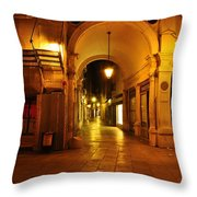 Clock Tower Venice Italy And The Path To Merceria Throw Pillow