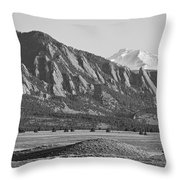 Colorado Rocky Mountains Flatirons With Snow Covered Twin Peaks Throw Pillow