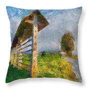 Country Road With Hayrack Throw Pillow