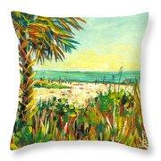 Crescent Beach Palm Throw Pillow