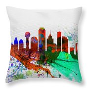 Dallas Watercolor Skyline Throw Pillow