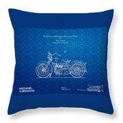 Design For A 1928 Harley Motorcycle Patent Throw Pillow