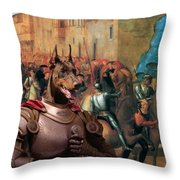 Doberman Pinscher Art -entree De Charles Viii Dans Florence Throw Pillow