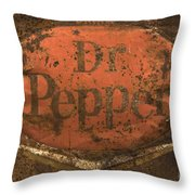 Dr Pepper Vintage Sign Throw Pillow by Bob Christopher