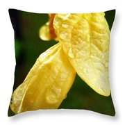 Drop On Yellow Flower Throw Pillow