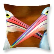Dueling Pelicans Throw Pillow